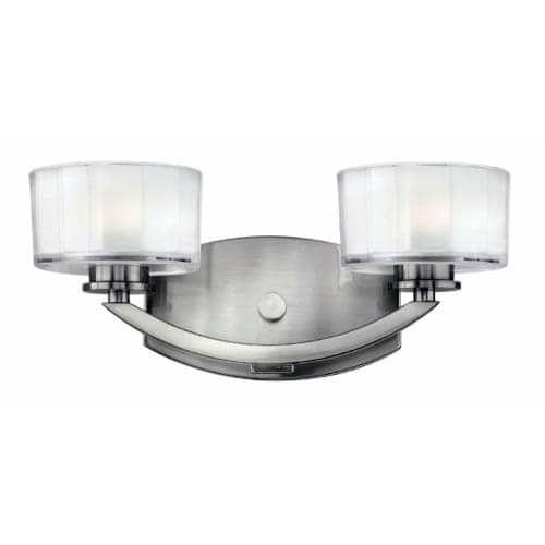 Hinkley lighting 5592 led meridian 2 light 14 wide led bathroom vanity light nickel
