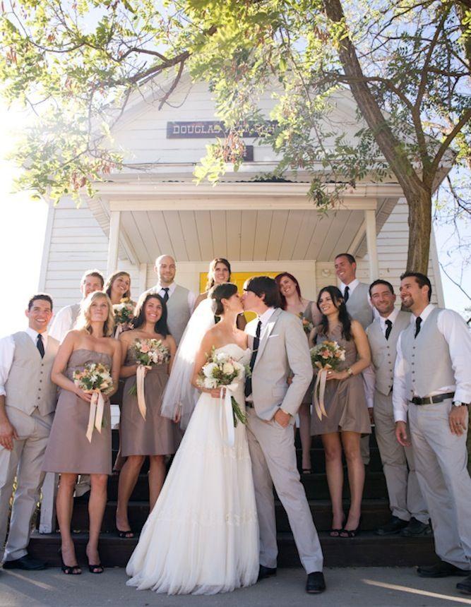flowers+ bm dresses (Jcrew, taffeta, fawn color). Sweet Vintage Farmhouse Wedding In California | Bridal Musings
