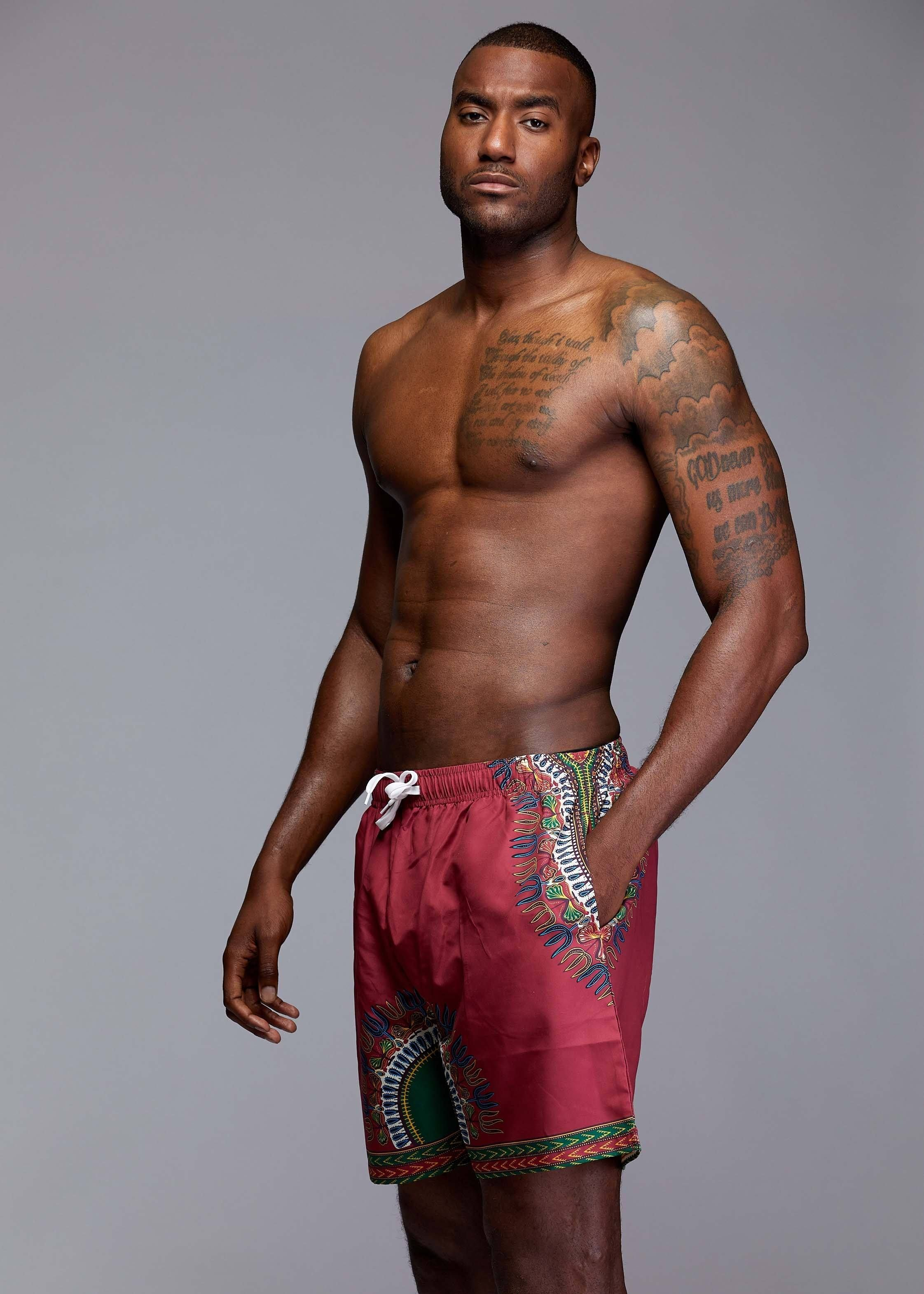 a85d319719 Dele Men's African Print Swim Trunk (Maroon Dashiki) | Products ...