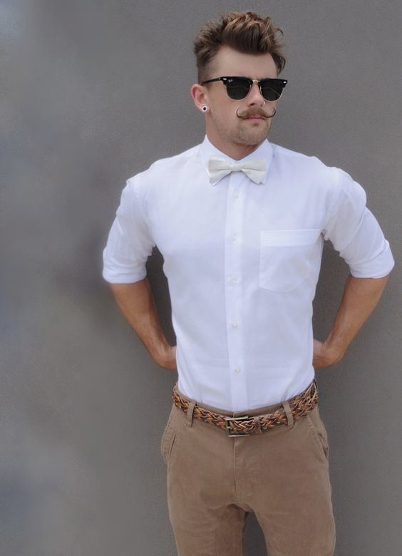 5b557d39701 A smart casual combination of a white dress shirt and tan chinos can  maintain its relevance