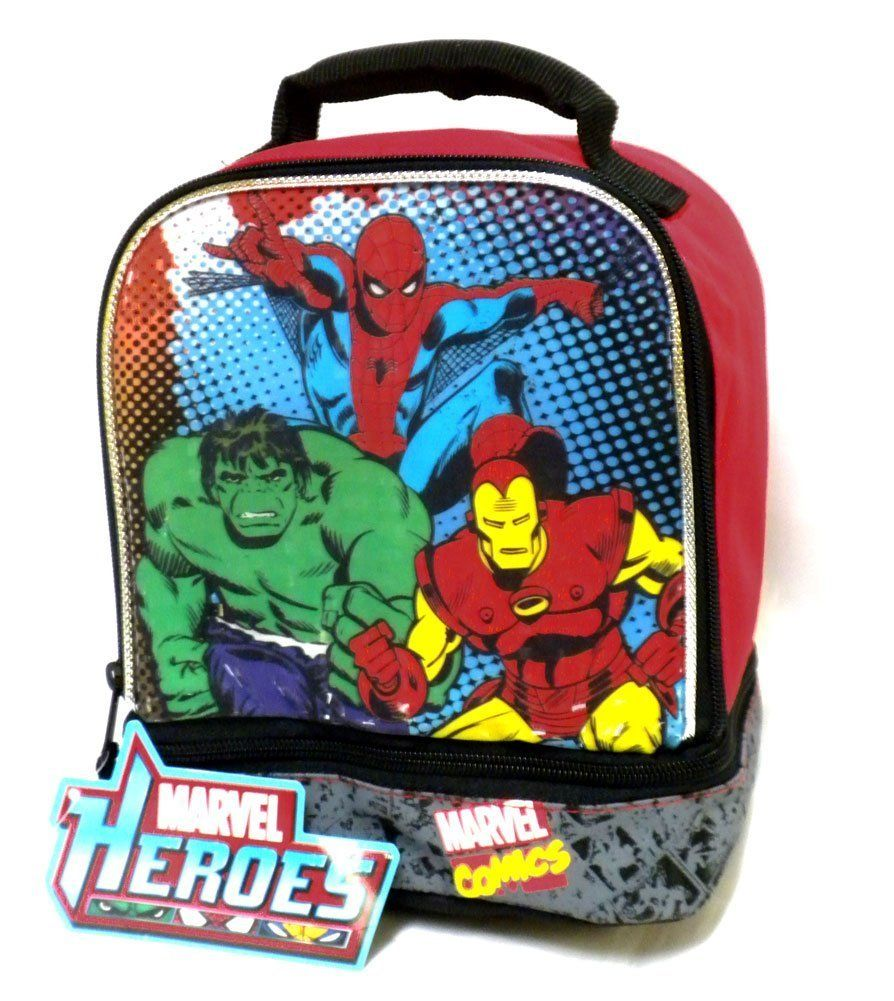 Amazon.com: Marvel Comics Heroes Lunch Bag Tote Spiderman Iron Man Hulk Characters: Lunch Boxes: Kitchen & Dining