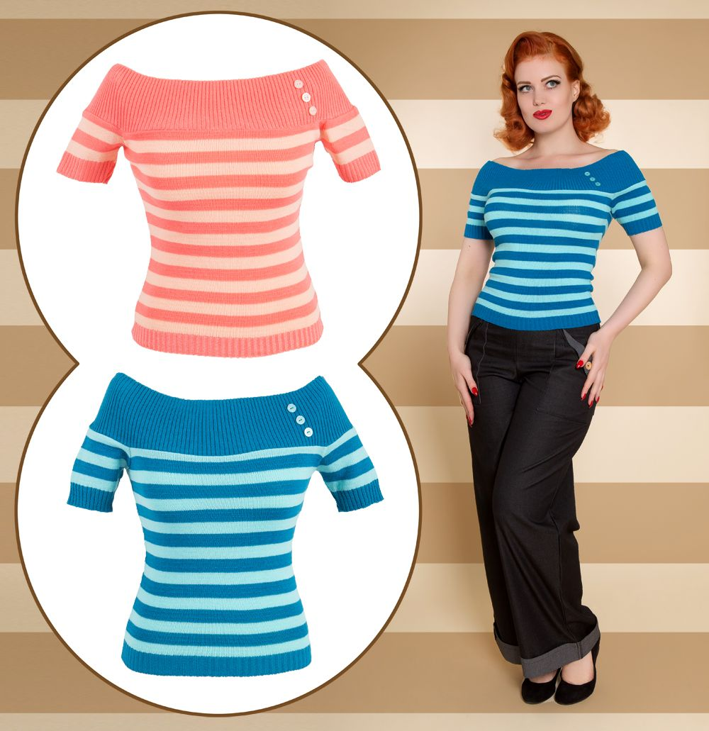 Miss Fortune striped off the shoulder 50's style top in