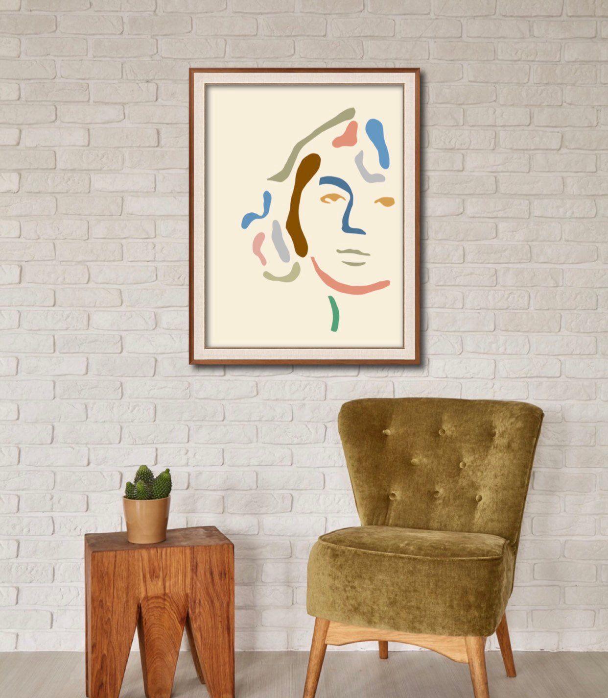 Abstract face art organic shapes nordic wall art modern