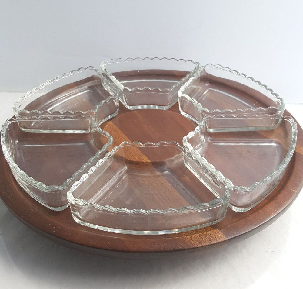 vintage 1960s ozark walnutware lazy susan with glass relish trays 145 inches