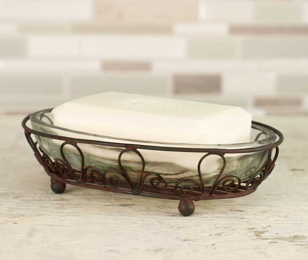 Industrial Style Oval Wire Soap Dish w// Glass Liner Galvanized Finish