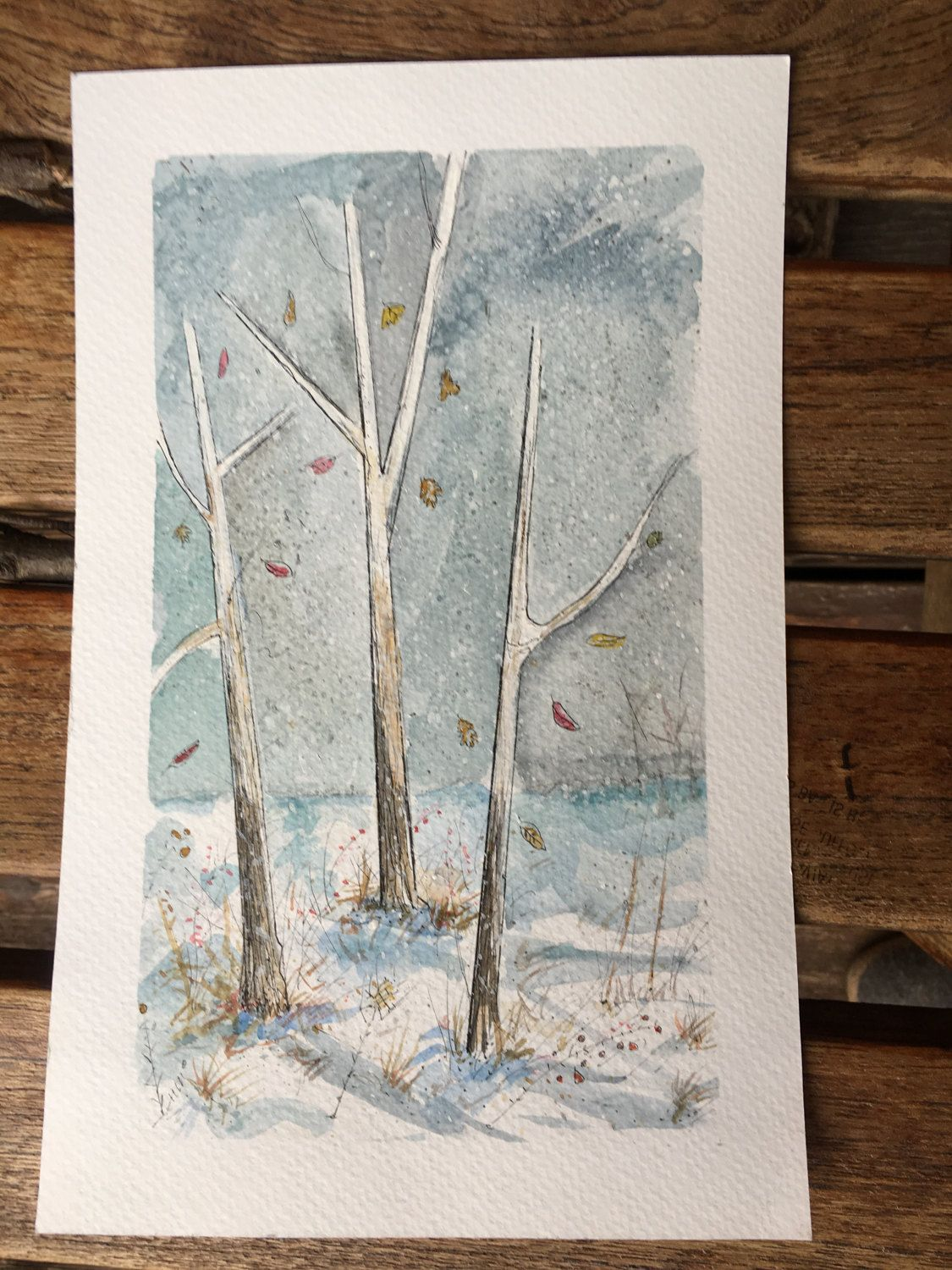 Modern watercolor Scandinavian style original abstract nature by TARAMBERIC on Etsy