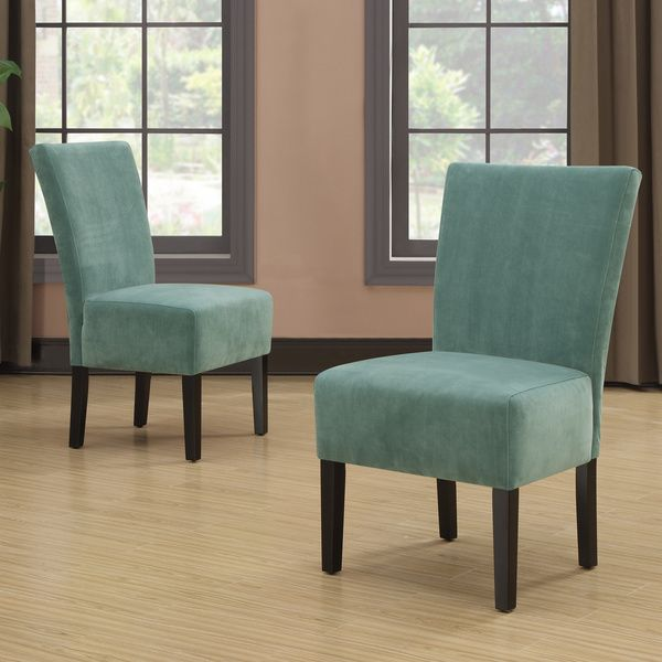 Charming Portfolio Duet Emma Turquoise Blue Velvet Upholstered Armless Chair (Set Of  2)