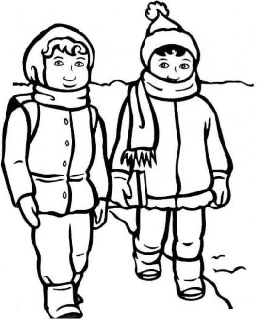 winter clothing coloring pages - boy and girl with winter clothes coloring page science