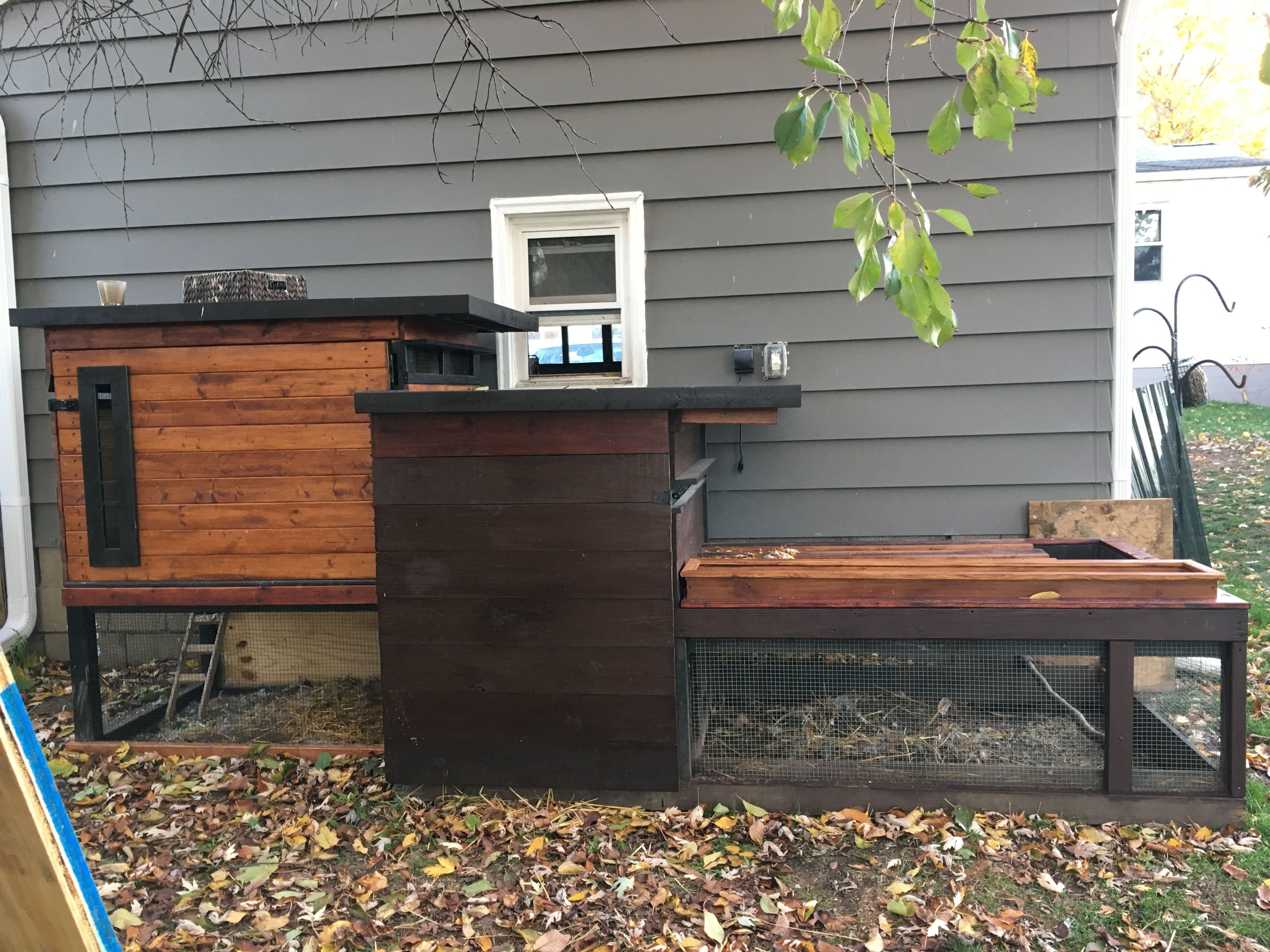 Double Mid Century Modern Chicken Coop with Planter