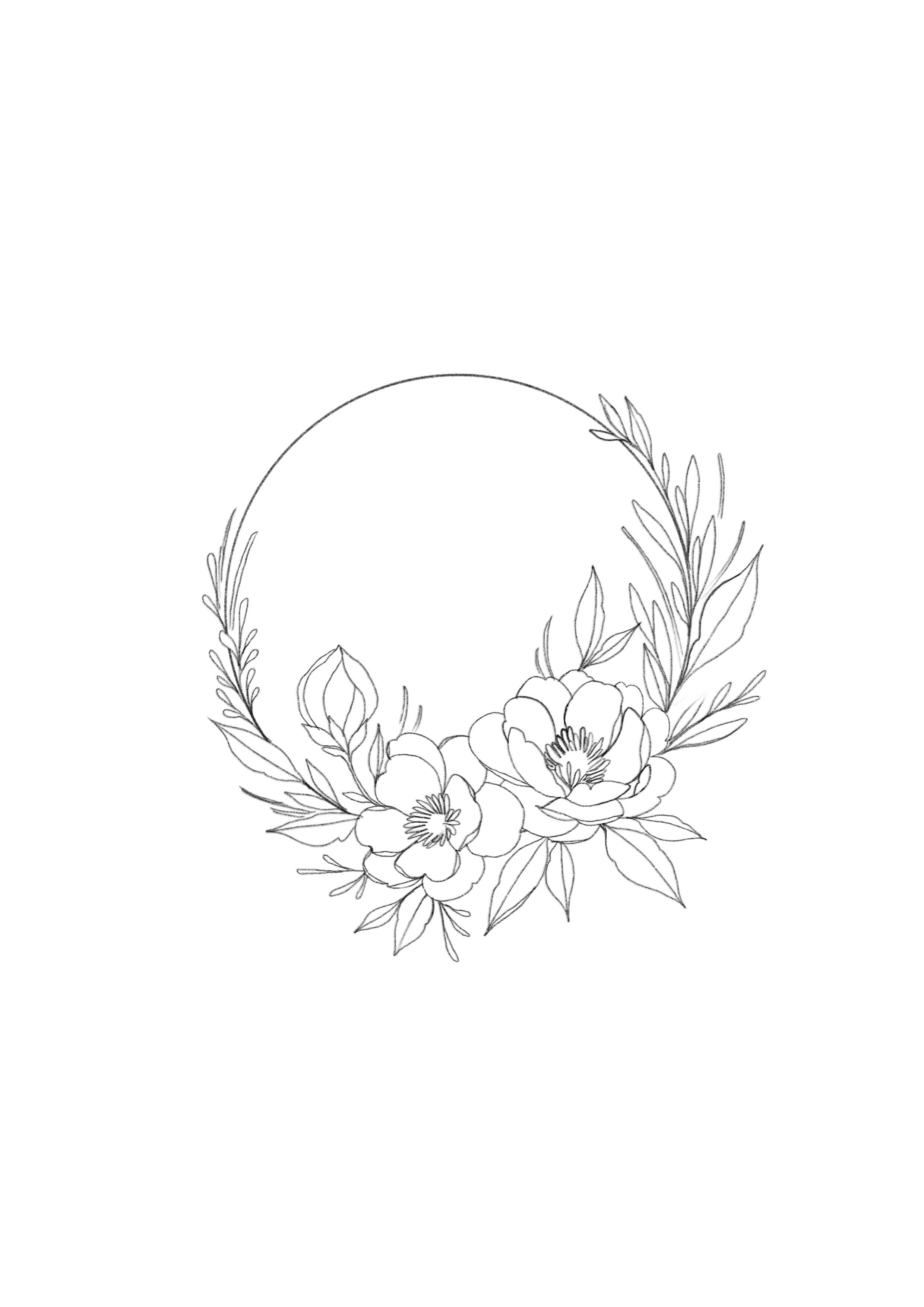 Minimalist Simple Flower Circle Tattoo: Beautiful Floral Wreath (com Imagens)
