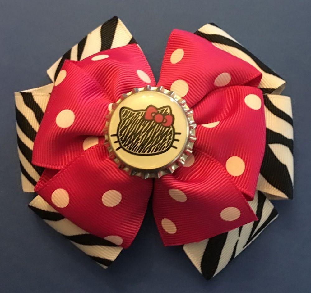 Hello Kitty Pink Polka Dots u Zebra Print Girls Hair Bow Barrette