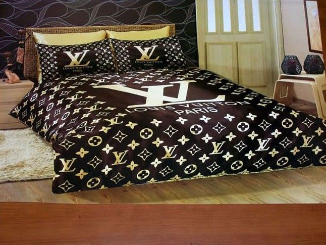g nstig billig louis vuitton lv bettw sche preiswert king size satin seide bed set 6 teilig. Black Bedroom Furniture Sets. Home Design Ideas