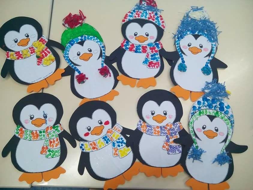 Pinguin Mit Mutze Und Schal Schule Bk Weihnachten Basteln