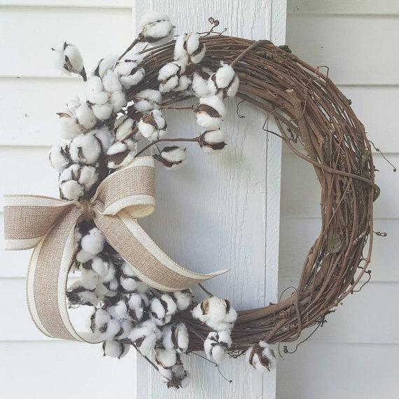 Cotton Boll Wreath Grapevine Wreath Rustic Decor Fixer Upper Style With Burlap Bow Cotton Ball Wreath Cotton Boll Wreath Grapevine Wreath Ball Wreath