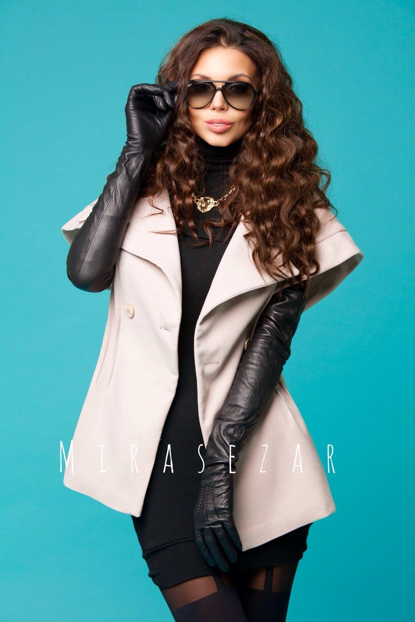 Buy ladies leather gloves online - Russian Lady In Long Leather Gloves 4