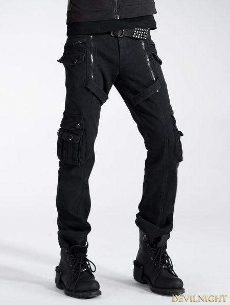 Black Gothic Punk Zippers Pants for Men - Devilnight.co.uk  9bcbcee6c