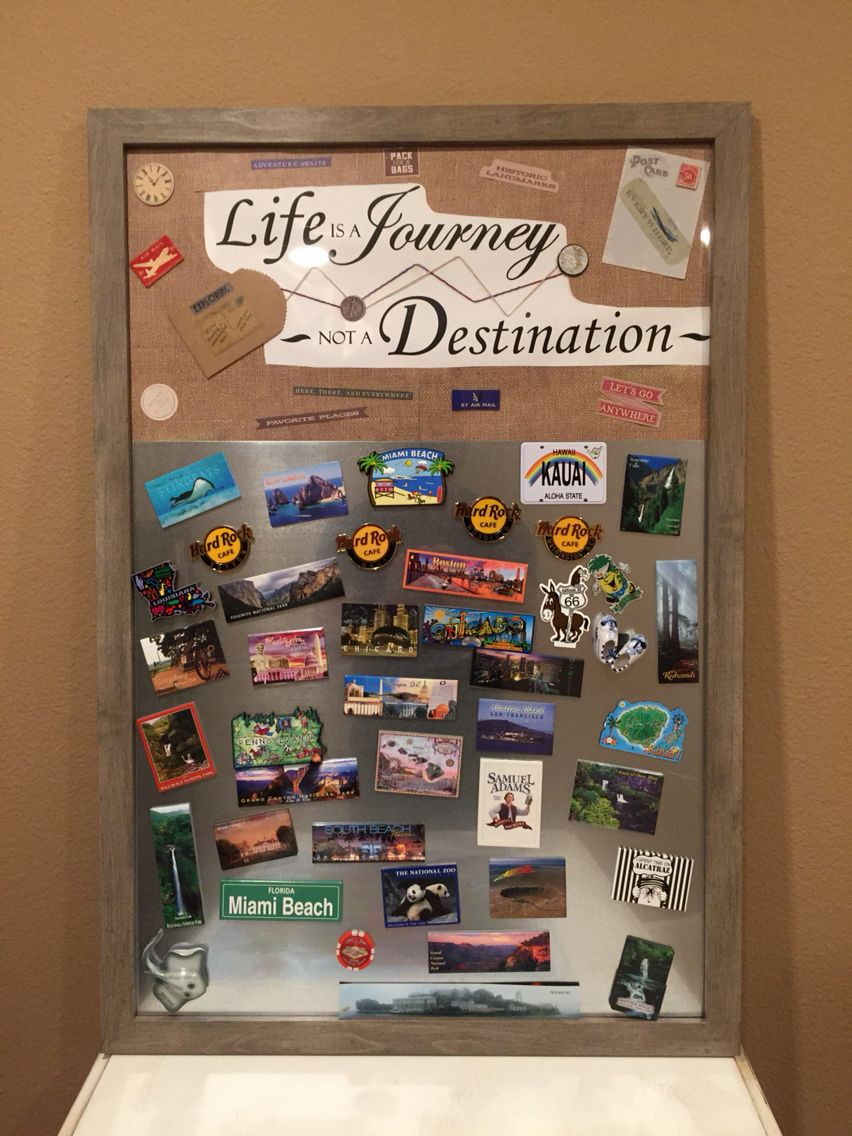 My DIY Magnet Board I Made To Display My Magnet Collection From My Travels.  My Office Theme Is A Blend Of Rustic  Chic Travel.