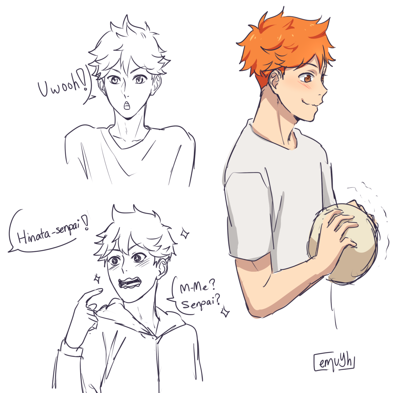 quite a few of my followers were interested in these 4 as third years after all of my 3rd year yama sketches. I have a couple of lame headcanons under the cut~ [[MORE]]Hinata Shouyou: - the best...