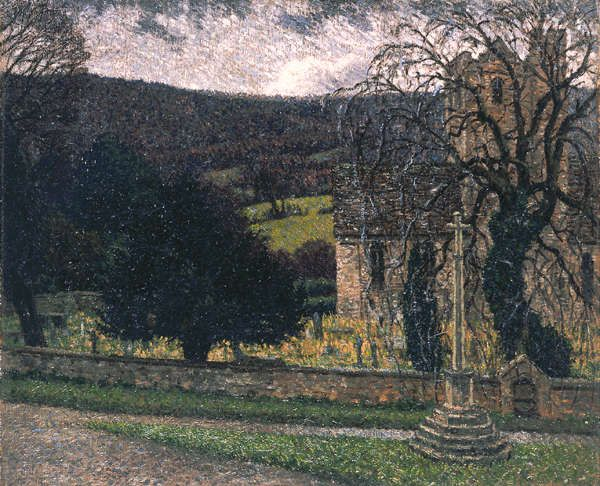 George Charlton (1899-1979) The Four Seasons; the Church Yard at Leonard Stanley, Gloucestershire, c.1942