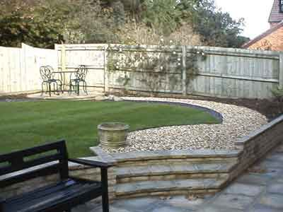 Stone Patio And Path With Curve