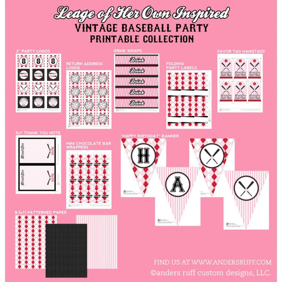 League of Her Own Vintage Girls Baseball Birthday Party Printable