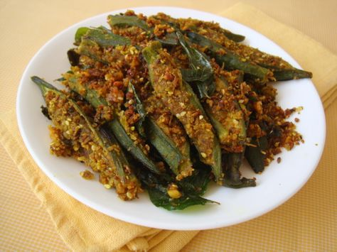 Bhindi Sambhariya Gujarati Style Stuffed Okra Recipe Indian Food Recipes Vegetarian Okra Recipes Spicy Recipes