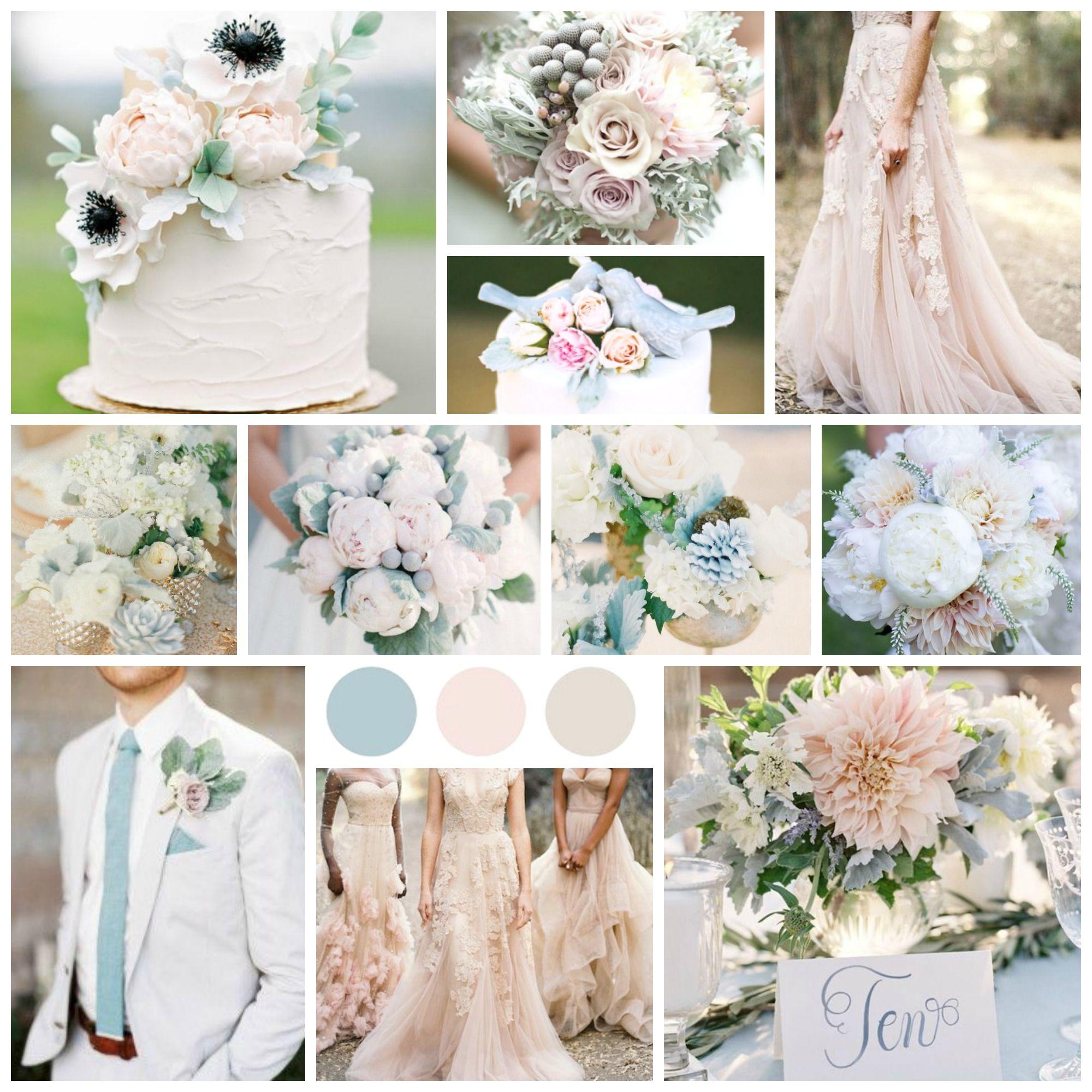 Blush, Dusty Blue And Off White Wedding Inspiration