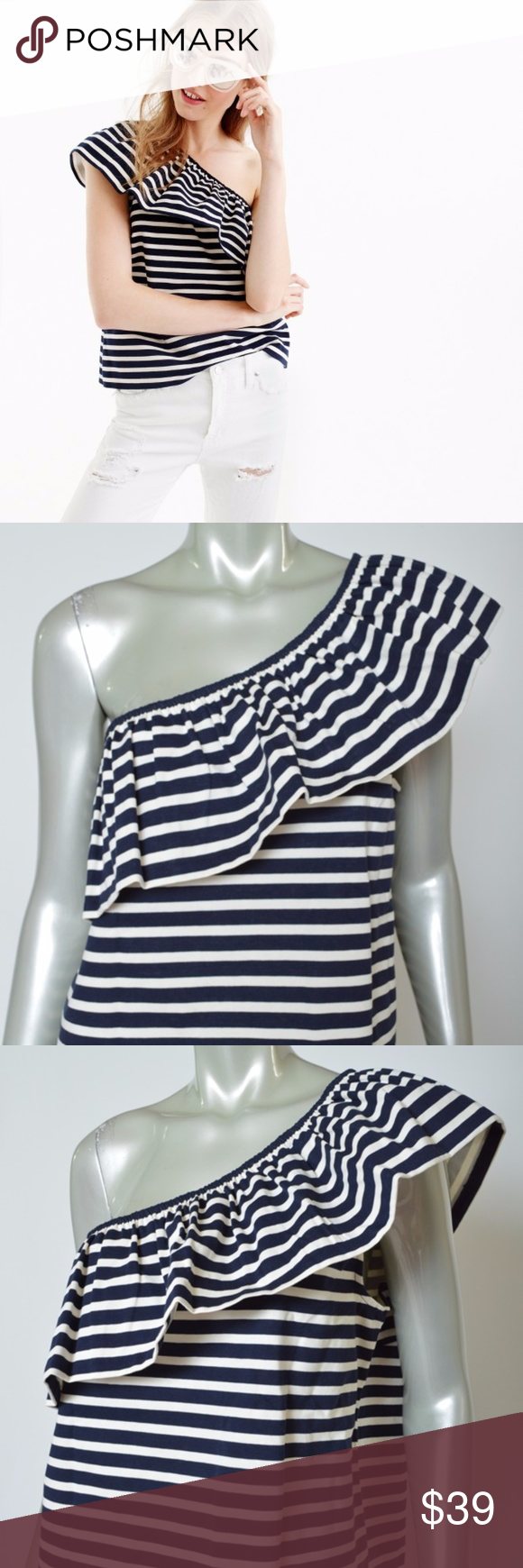 960906c06f83c J Crew Top Shirt One Shoulder Striped Navy White L J Crew Large One  Shoulder Striped Navy Blue   White Ruffle Cotton New Shirt L Total length  is 23 inches ...
