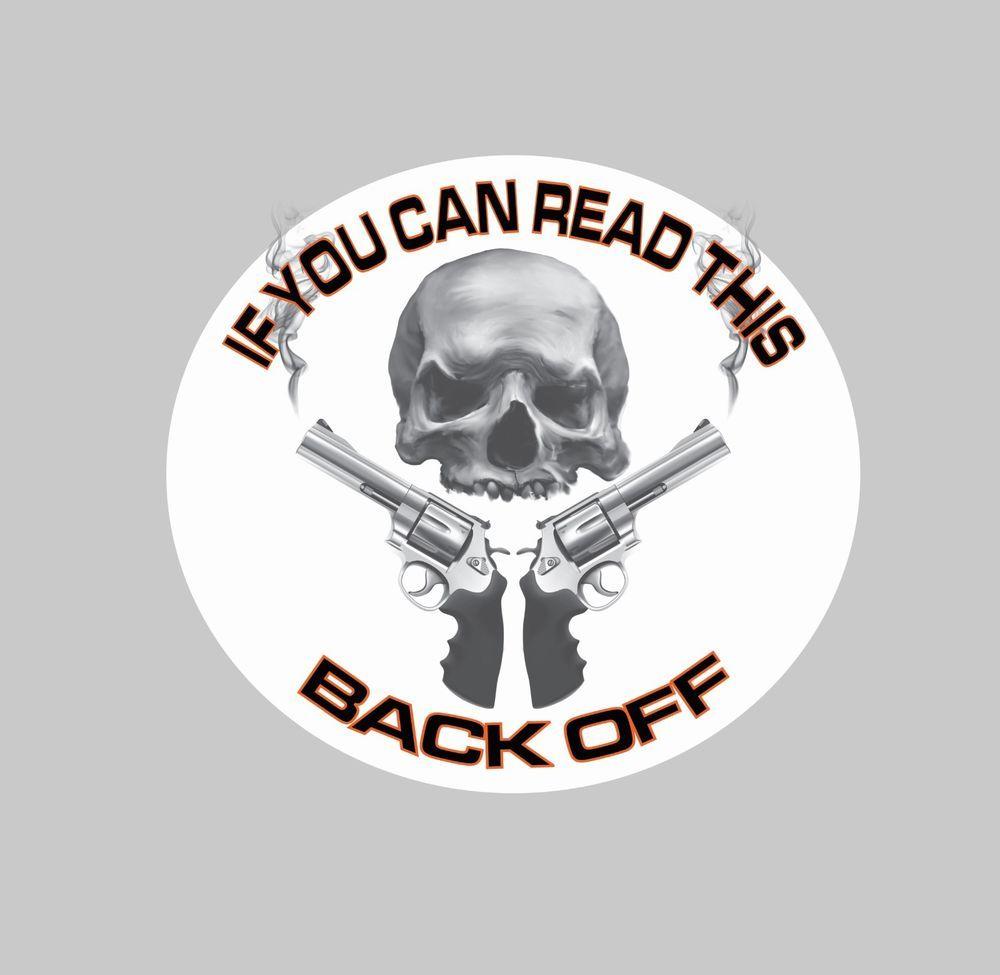 Back off skull with guns graphic decal 55 trucks cars vans back off skull with guns graphic decal 55 trucks cars vans hotrod biker amipublicfo Choice Image