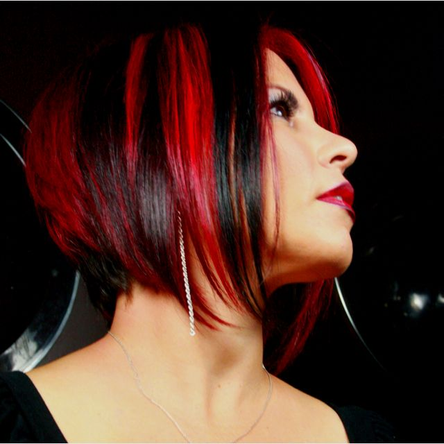 Red Black Combo Just Needs A Tad Bit Of Blonde For Me To Be In Love Hair Styles Short Hair Styles Hair Highlights