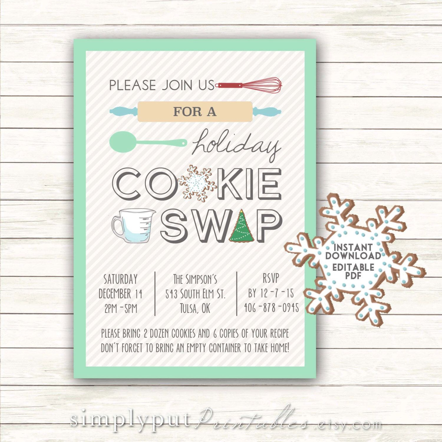 Holiday Cookie Swap Party Invitation Printable | Christmas Cookie ...