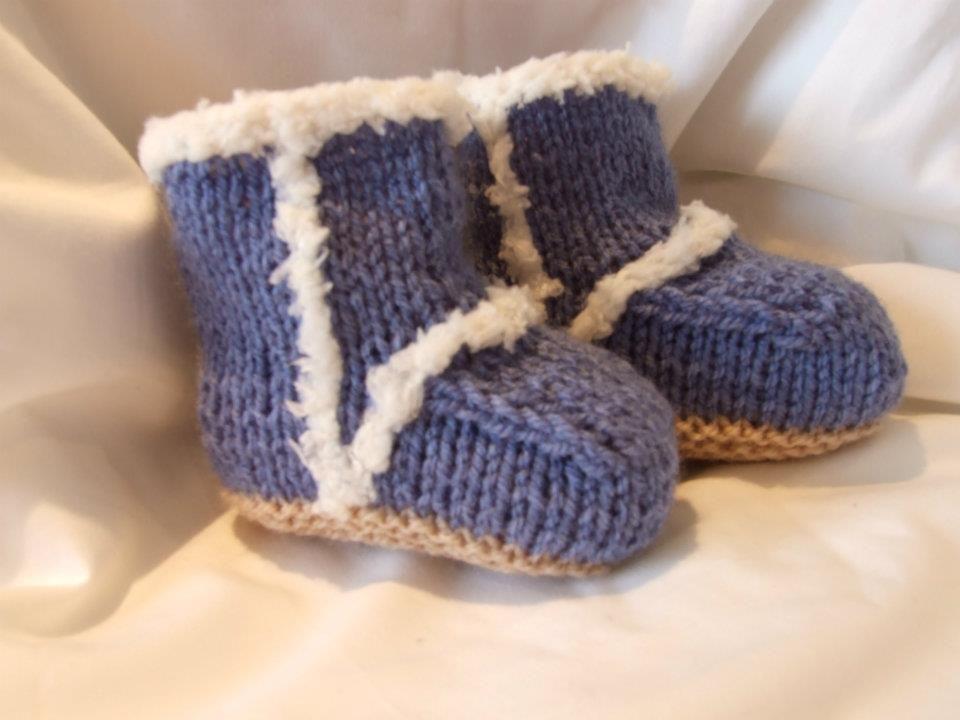 Denim Blue Hand Knitted Uggs Knitting Pinterest Knit Baby