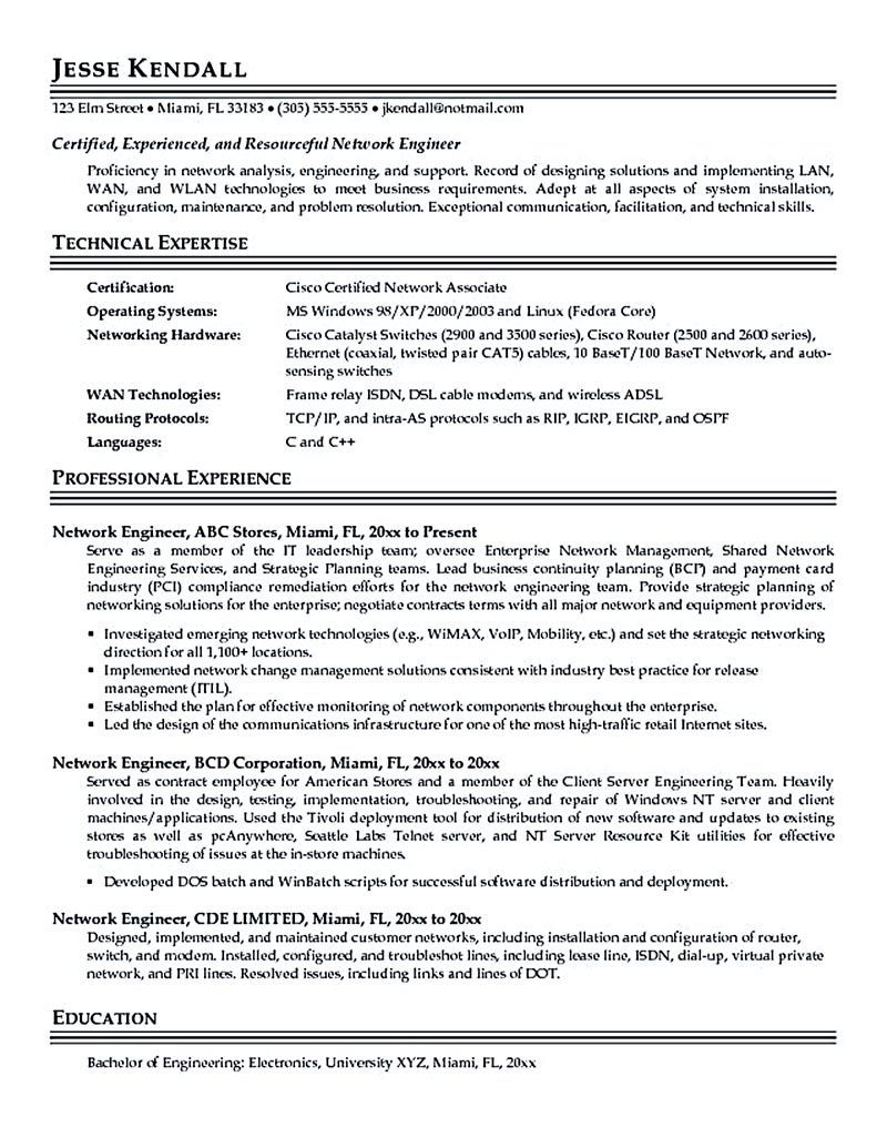 Network Engineer Resume Nowadays Becomes So Popular It Is Because The Needs Of The Netwo Cover Letter For Resume Resume Cover Letter Examples Network Engineer