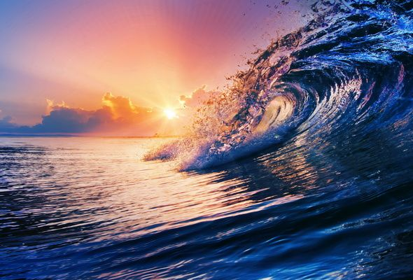 Wallpaper ocean, wave, blue, sea, sky, splash, sunset Waves
