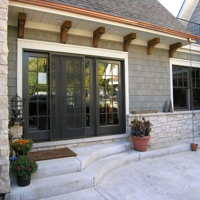 Small shed roof over door front door and decking for Transition windows for homes