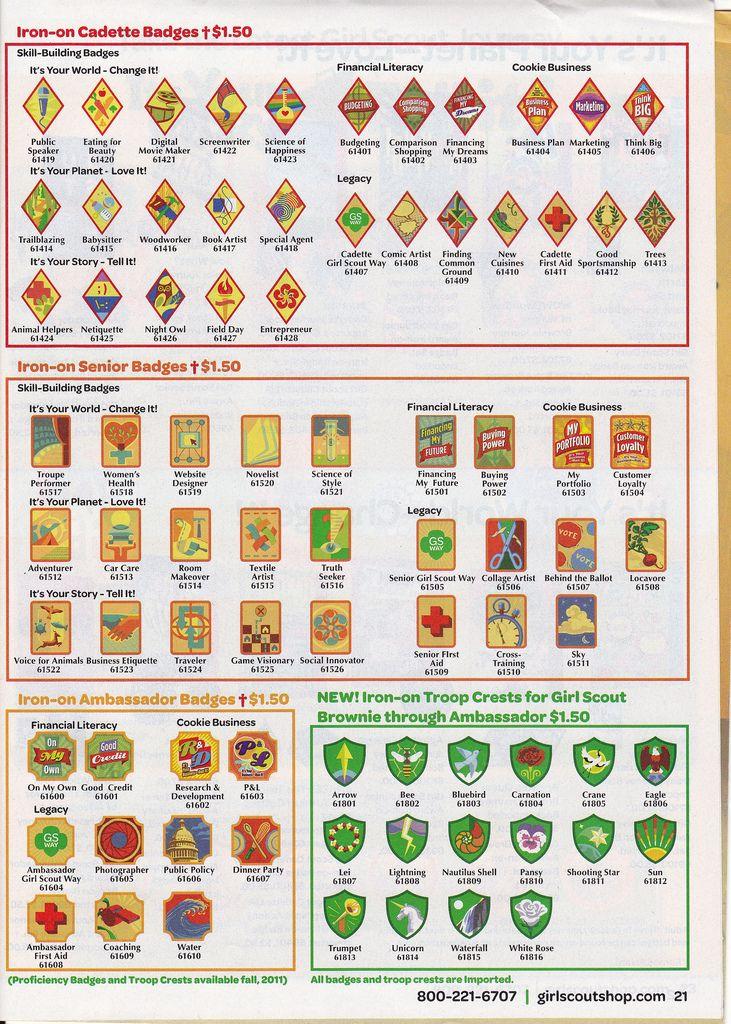 Cadette, Senior and Ambassador Girl Scout Badges Troop Crests ...