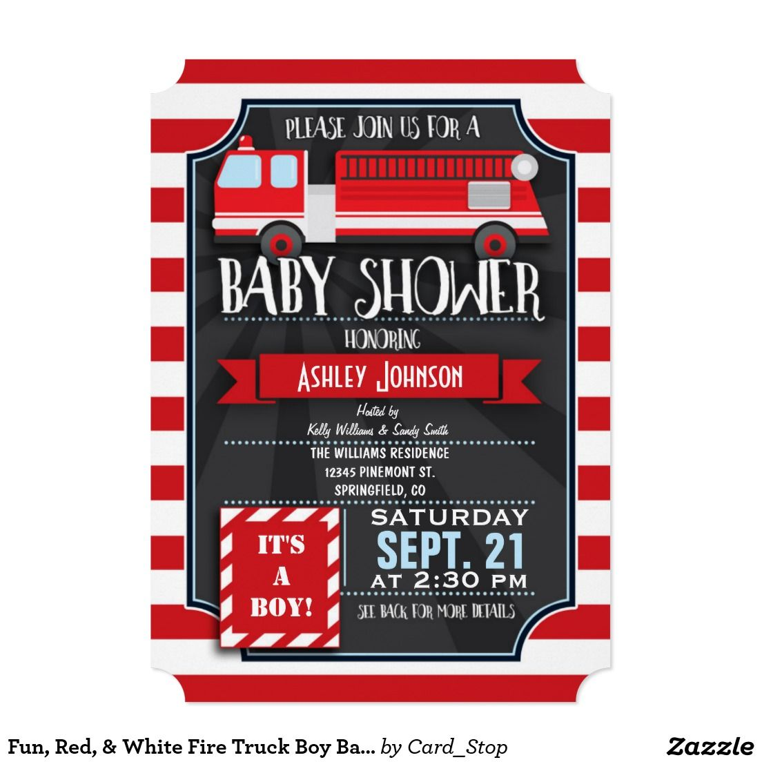 Fun, Red, & White Fire Truck Boy Baby Shower Card | Future Grands ...