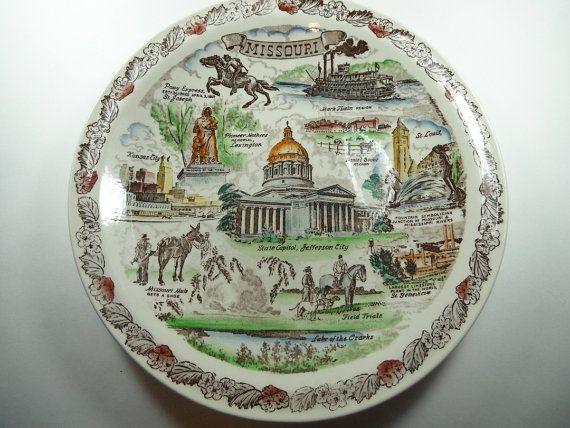 Vintage 1950s Vernon Kilns Missouri Souvenir Commemorative Plate by CapricornOneVintage on Etsy, $25.00