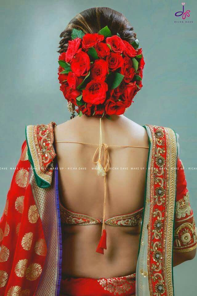Bridal Hair Bun With Red Roses Indian Hairstyles Bridal