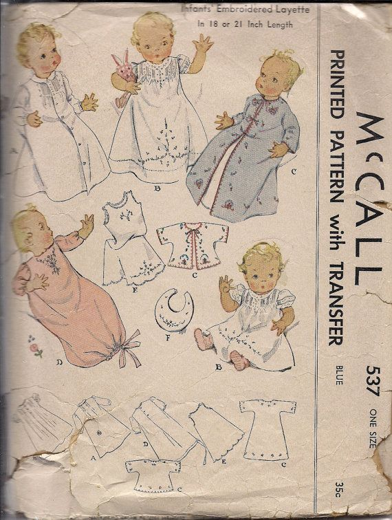 1937 Printed Sewing Pattern McCall 537 Infant's Embroidered Layette