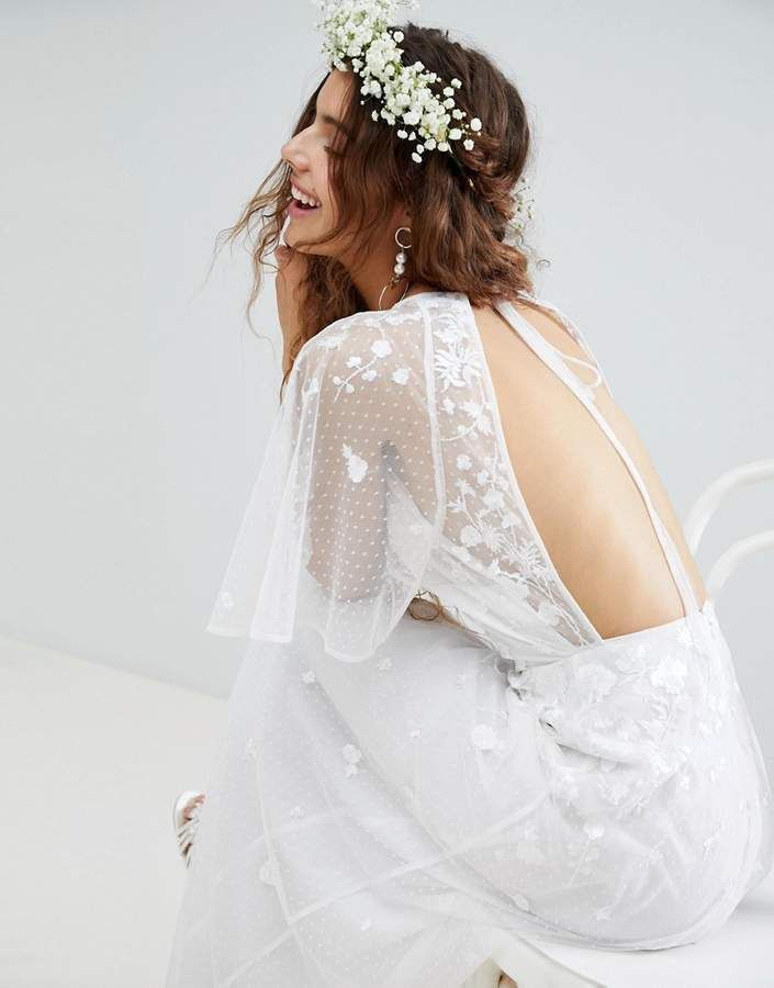 Asos Edition ASOS EDITION Embroidered Flutter Sleeve Maxi Wedding Dress. Bohemian wedding dress.