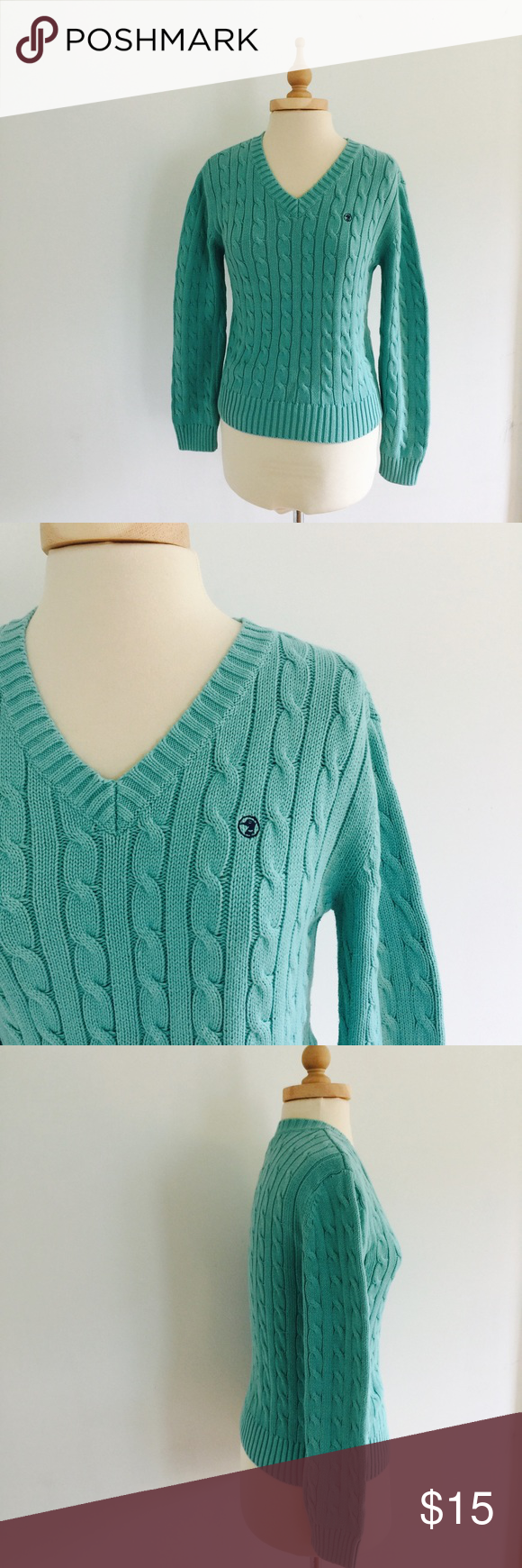 Duck Head Teal blue vneck cable knit sweater | Cable, Beautiful ...