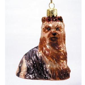 "3.5"" NOBLE GEMS GLASS YORKSHIRE TERRIER ORNAMENT"