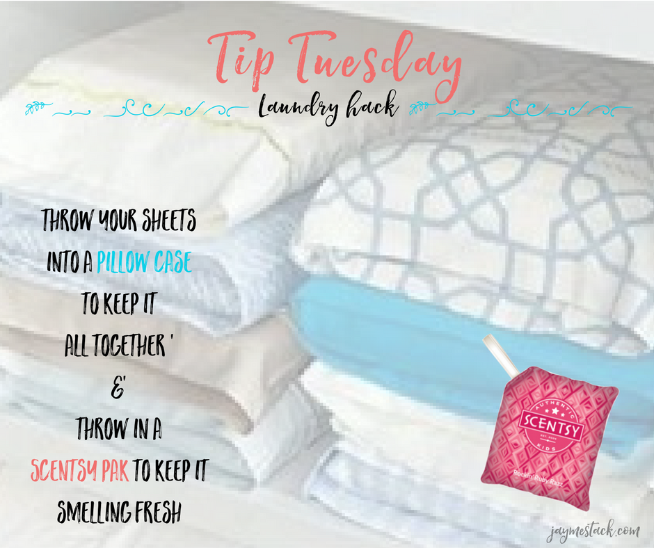 Fold your sheets into a pillow case to keep it all together. Throw in a Scentsy Scent Pak to keep it smelling fresh #tiptuesday #scentsyhack www.jaymestack.com
