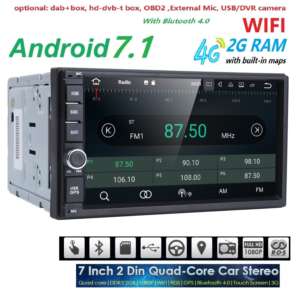 2 GB RAM Quad Core Car Electronic autoradio 2din android 7.1 car ...