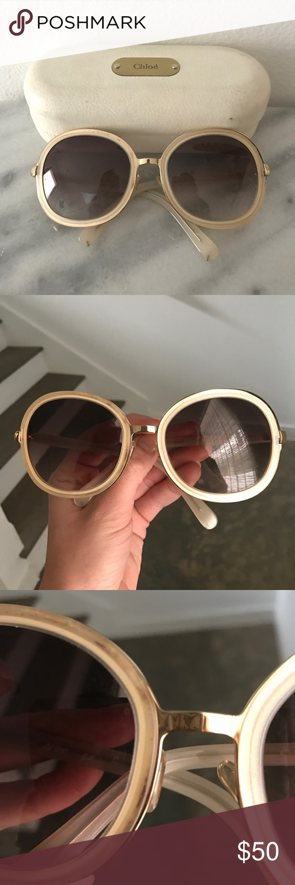 295136dbae1c Chloe round Nicole Richie sunglasses white gold Round 70s style Chloe  authentic sunglasses. Some signs of wear. Oversized. Comes with case Chloe  Accessories ...