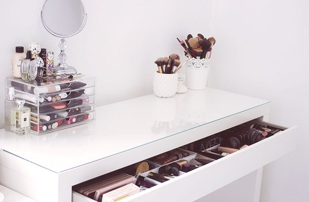 My Makeup Storage Featuring The Ikea Malm Dresser Being Chloe Ikea Malm Dresser Ikea Malm Dressing Table Malm Dressing Table
