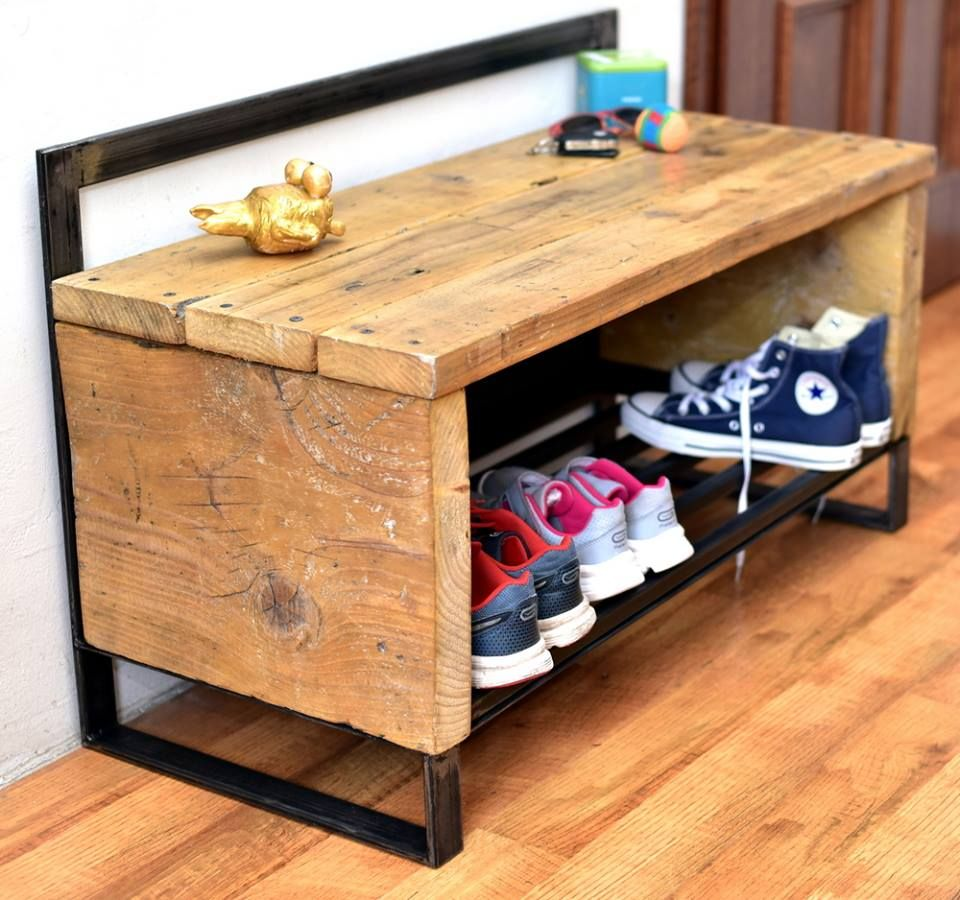 reclaimed wood pallet bench. Reclaimed Wood Pallet Shoe Rack | Furniture DIY Bench F