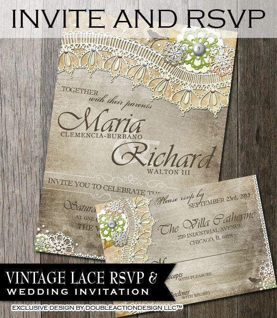 Rustic Wedding Invitation & RSVPDIY wedding invite RSVP