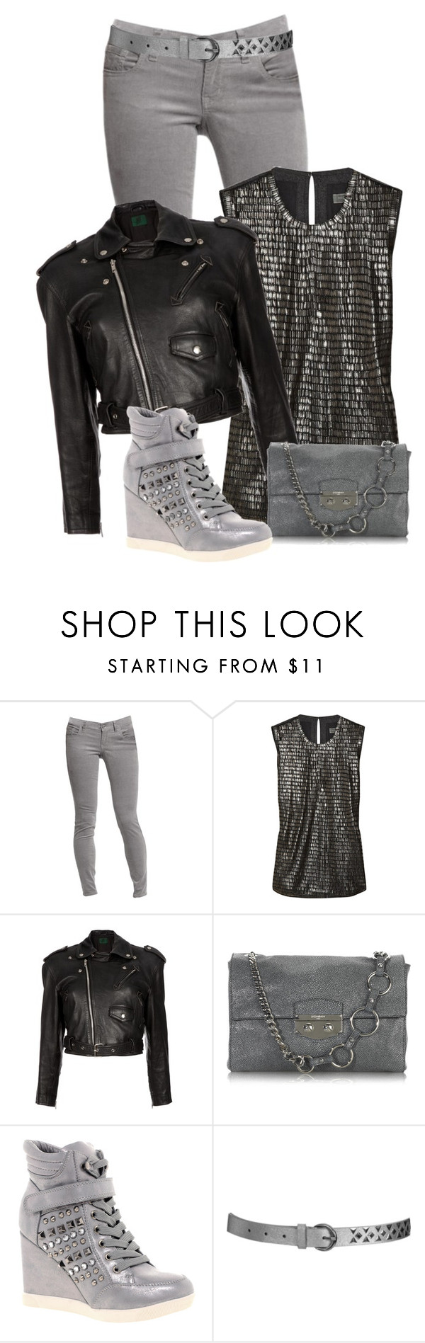 """Studded Wedge Sneakers"" by chrissykp ❤ liked on Polyvore featuring Old Navy, Reed Krakoff, Jean-Paul Gaultier, Yves Saint Laurent, Timeless, Wet Seal, studs, snake print, cropped jackets and metallics"